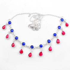 925 sterling silver 23.06cts natural blue sapphire red ruby necklace t40586