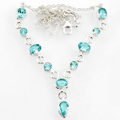 Clearance Sale- 925 sterling silver 17.87cts natural blue topaz pear necklace jewelry d44528