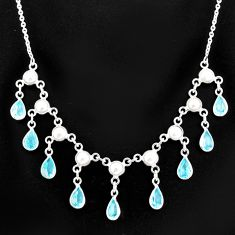 925 sterling silver 20.45cts natural blue topaz pear pearl necklace r77409