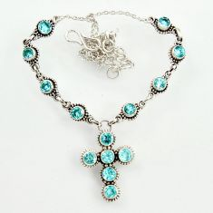 925 sterling silver 12.66cts natural blue topaz round necklace jewelry d47369