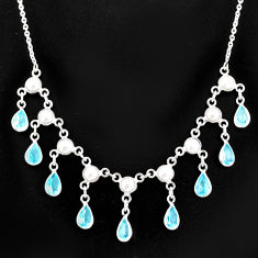 925 sterling silver 20.18cts natural blue topaz white pearl necklace r77404
