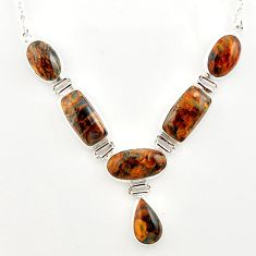 925 sterling silver 56.30cts natural brown pietersite (african) necklace r27537