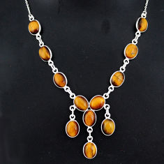 925 sterling silver 28.86cts natural brown tiger's eye necklace jewelry r94089