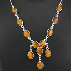 925 sterling silver 29.34cts natural brown tiger's eye necklace jewelry r94107