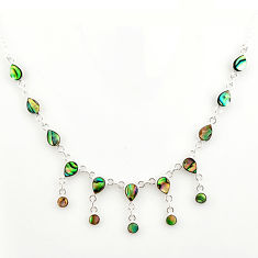 925 sterling silver 15.39cts natural green abalone paua seashell necklace r27597
