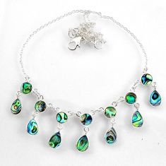 925 sterling silver 16.11cts natural green abalone paua seashell necklace r60773