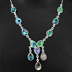 925 sterling silver 22.57cts natural green abalone paua seashell necklace r94104