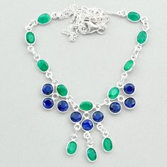 925 sterling silver 23.13cts natural green emerald blue sapphire necklace t50356