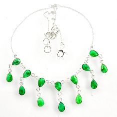 925 sterling silver 20.62cts natural green emerald necklace jewelry d47640