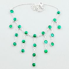 925 sterling silver 19.87cts natural green emerald necklace jewelry t50303