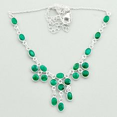 925 sterling silver 22.30cts natural green emerald oval necklace jewelry t50330