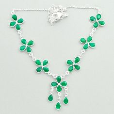 925 sterling silver 28.07cts natural green emerald pear necklace jewelry t50328