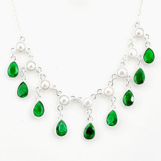 925 sterling silver 23.17cts natural green emerald pear pearl necklace r77388