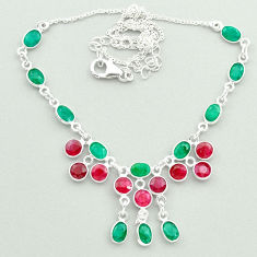 925 sterling silver 22.48cts natural green emerald red ruby necklace t50358
