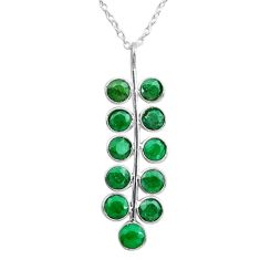 925 sterling silver 6.04cts natural green emerald round necklace jewelry t12384