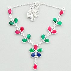 925 sterling silver 20.33cts natural green emerald ruby sapphire necklace t50365