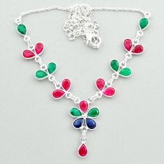 925 sterling silver 19.85cts natural green emerald ruby sapphire necklace t50368