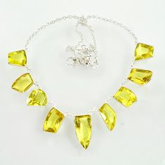 925 sterling silver 64.55cts natural lemon topaz necklace jewelry d47373