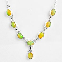 925 sterling silver 15.64cts natural multi color ethiopian opal necklace r59467