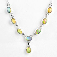 925 sterling silver 15.63cts natural multi color ethiopian opal necklace r59471