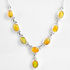 925 sterling silver 15.94cts natural multi color ethiopian opal necklace r59475