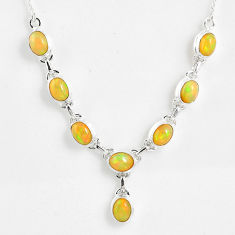 925 sterling silver 15.61cts natural multi color ethiopian opal necklace r59479