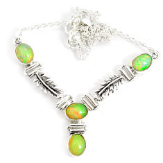 925 sterling silver 12.48cts natural multi color ethiopian opal necklace r76847