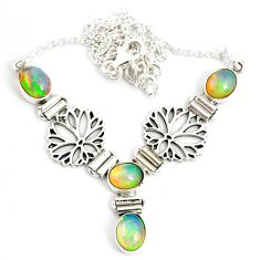 925 sterling silver 12.60cts natural multi color ethiopian opal necklace r76851