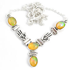 925 sterling silver 12.15cts natural multi color ethiopian opal necklace r76855