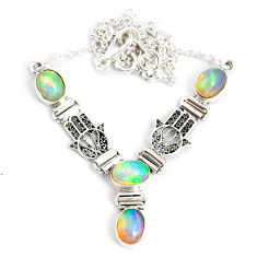 925 sterling silver 11.14cts natural multi color ethiopian opal necklace r76860