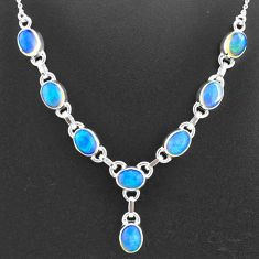 925 sterling silver 16.07cts natural multi color ethiopian opal necklace t2924