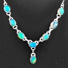 925 sterling silver 16.07cts natural multi color ethiopian opal necklace t2928