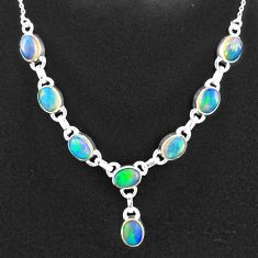 925 sterling silver 16.37cts natural multi color ethiopian opal necklace t2934