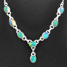 925 sterling silver 15.76cts natural multi color ethiopian opal necklace t2938