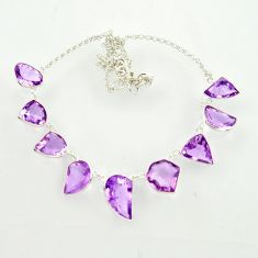 925 sterling silver 59.39cts natural pink amethyst fancy necklace jewelry d47377