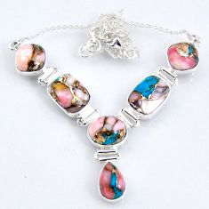 925 sterling silver 30.52cts natural pink opal in turquoise necklace r56064