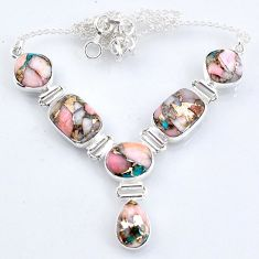 925 sterling silver 29.68cts natural pink opal in turquoise necklace r56119