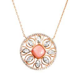 925 sterling silver natural pink opal topaz 14k rose gold necklace c17239