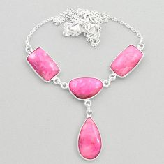925 sterling silver 26.14cts natural pink petalite oval necklace jewelry t45278