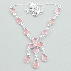 925 silver 18.28cts natural pink rose quartz necklace jewelry t34131