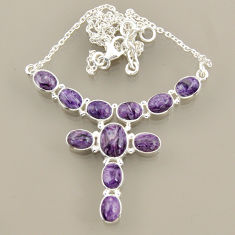 925 sterling silver 26.42cts natural purple charoite (siberian) necklace r47604