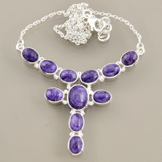 925 sterling silver 25.53cts natural purple charoite (siberian) necklace r47608