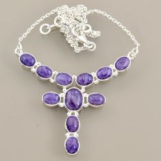 925 sterling silver 26.06cts natural purple charoite (siberian) necklace r47613