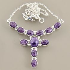 925 sterling silver 25.67cts natural purple charoite (siberian) necklace r47617
