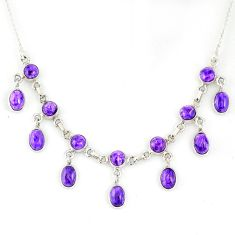 925 sterling silver 21.54cts natural purple charoite (siberian) necklace r56144
