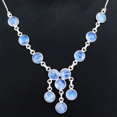 925 sterling silver 22.57cts natural rainbow moonstone necklace jewelry r94072