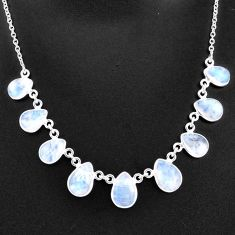 925 sterling silver 29.22cts natural rainbow moonstone necklace jewelry t16100