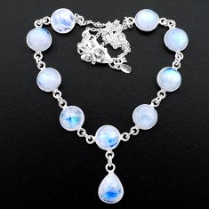 925 sterling silver 37.50cts natural rainbow moonstone necklace jewelry t26385