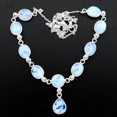 925 sterling silver 38.50cts natural rainbow moonstone necklace jewelry t26393