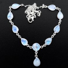 925 sterling silver 29.78cts natural rainbow moonstone necklace jewelry t26399